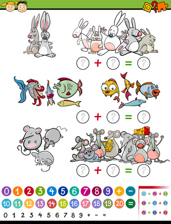 cartoon rabbit: Cartoon Illustration of Education Mathematical Game for Preschool Children with Animals