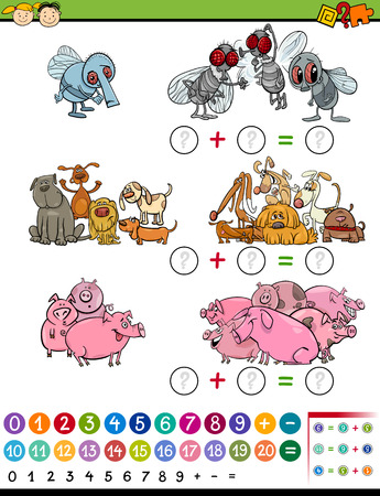 cartoon math: Cartoon Illustration of Education Mathematical Game of Calculating Animals for Preschool Children