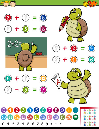 Cartoon Illustration of Education Mathematical Calculating Game for Preschool Children with Turtle Character