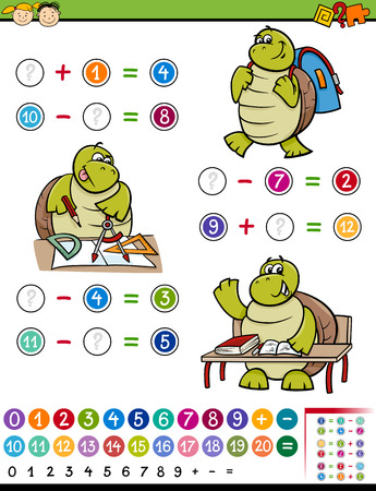 math cartoon: Cartoon Illustration of Education Mathematical Algebra Game for Preschool Children