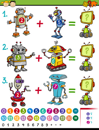 Cartoon Illustration of Education Mathematical Game for Preschool Children with Animals with Funny Robots Illustration