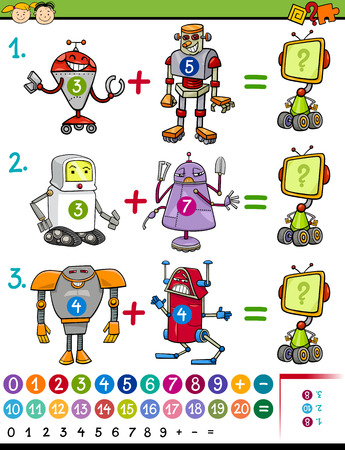 cartoon math: Cartoon Illustration of Education Mathematical Game for Preschool Children with Animals with Robots Illustration