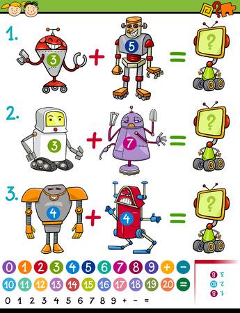 matematicas: Ejemplo de la historieta de Educación Matemática de juegos para niños en edad preescolar con animales con Robots Vectores