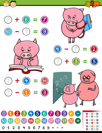 Cartoon Illustration of Education Mathematical Game for Preschool Children with Pig Character Illustration