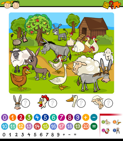 enumerate: Cartoon Illustration of Education Mathematical Game for Preschool Children with Farm Animals