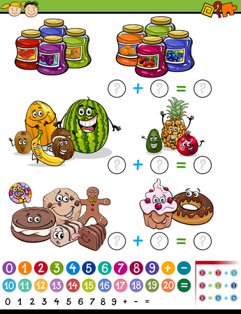 frutas divertidas: Ejemplo de la historieta de Educaci�n Matem�tica �lgebra Juego para ni�os en edad preescolar con frutas y dulces