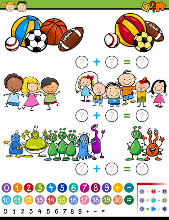 cartoon math: Cartoon Illustration of Education Mathematical Calculating Game for Preschool Children