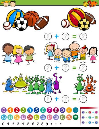 matematicas: Ejemplo de la historieta de Educación Matemática Cálculo de juego para niños en edad preescolar
