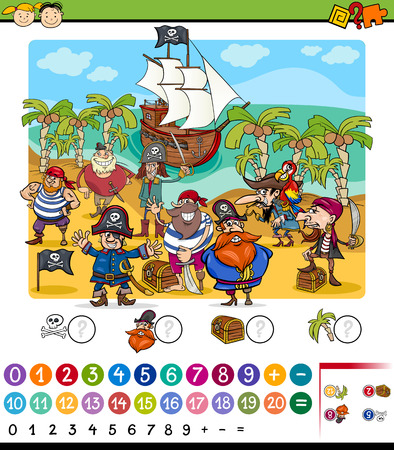 math cartoon: Cartoon Illustration of Education Mathematical Game for Preschool Children with Pirates Characters