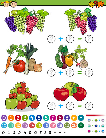 mathematics: Cartoon Illustration of Education Mathematical Algebra Game for Preschool Children with Fruits and Vegetables