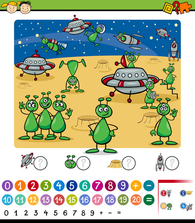 cartoon math: Cartoon Illustration of Education Mathematical Game for Preschool Children with Aliens Characters