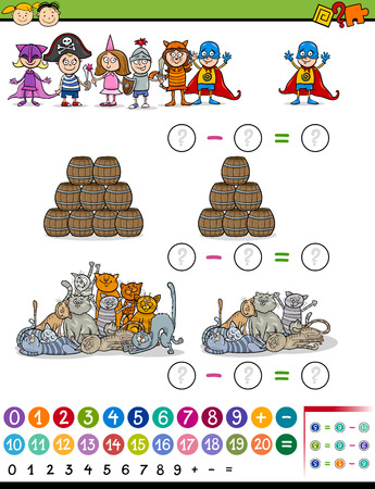 math cartoon: Cartoon Illustration of Education Mathematical Subtraction Game for Preschool Children