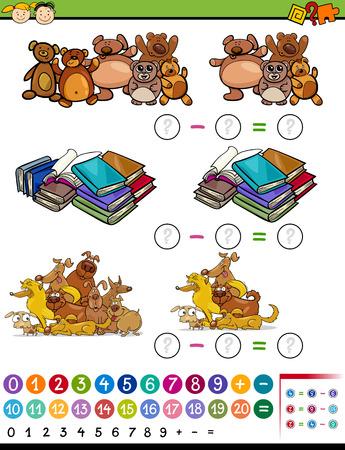 matematica: Ejemplo de la historieta de Educación Matemática Álgebra Resta juego para niños en edad preescolar