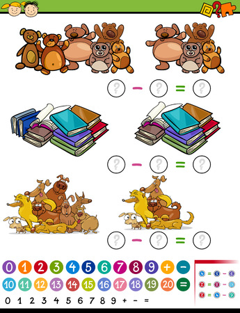Cartoon Illustration of Education Mathematical Subtraction Algebra Game for Preschool Children Illustration