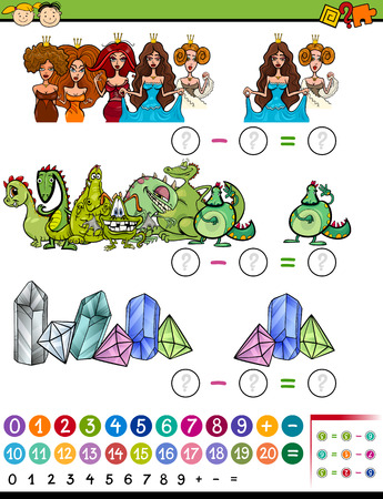 calculating: Cartoon Illustration of Education Mathematical Calculating Game for Preschool Children