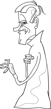 dreadful: Black and White Cartoon Illustration of Scary Vampire or Count Dracula for Coloring Book