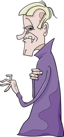 dreadful: Cartoon Illustration of Scary Vampire or Count Dracula