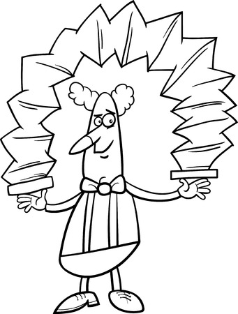 Black and White Cartoon Illustration of Funny Clown Circus Performer with Accordion for Coloring Book