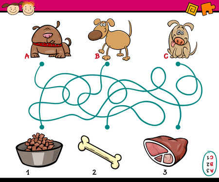 Cartoon Illustration of Education Paths or Maze Game for Preschool Children with Dogs and Food