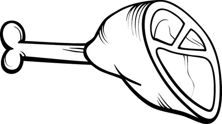 ham: Black and White Cartoon Illustration of Ham or Haunch Meat Food Object Clip Art for Coloring Book