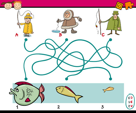 laberinto: Ejemplo de la historieta de Caminos Educación o juego de laberinto para niños en edad preescolar con pescadores y pescado Vectores