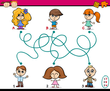 ready: Cartoon Illustration of Education Paths or Maze Game for Preschool Children with Kids Friends Illustration