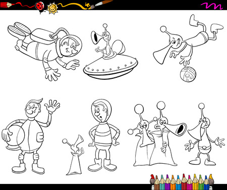 cartoon astronaut: Coloring Book Cartoon Illustration of Spaceman and Aliens Characters Set Illustration