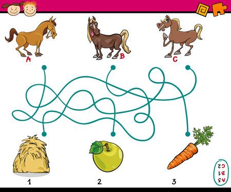 Cartoon Ilustración de Caminos Educación o Laberinto Juego para niños en edad preescolar con los caballos y Alimentación