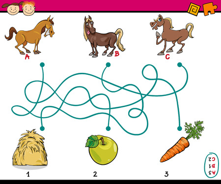 Cartoon Illustration of Education Paths or Maze Game for Preschool Children with Horses and Food