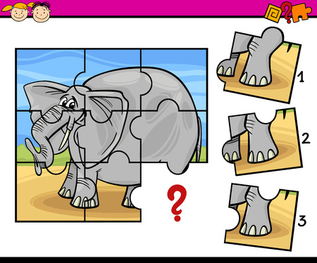 Cartoon Illustration of Jigsaw Puzzle Education Game for Preschool Children with Elephant  イラスト・ベクター素材