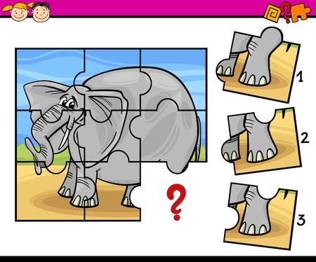 教育: 拼圖教育遊戲的卡通插圖為學前兒童與大象 向量圖像
