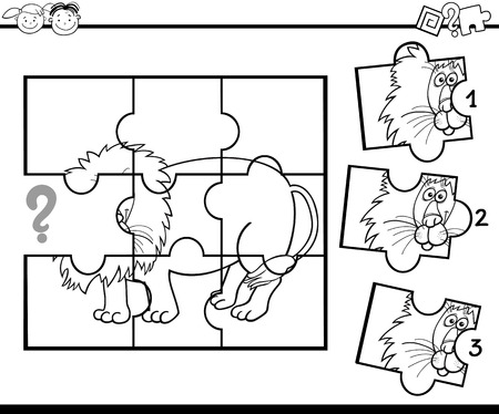 lion drawing: Black and White Cartoon Illustration of Jigsaw Puzzle Education Game for Preschool Children with Lion for Coloring