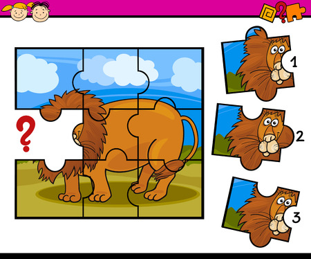 Cartoon Illustration of Jigsaw Puzzle Education Game for Preschool Children with Lion