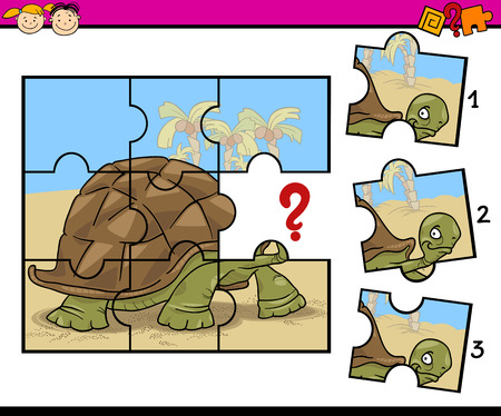 Cartoon Illustration of Jigsaw Puzzle Education Game for Preschool Children with Turtle