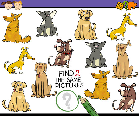 preliminary: Cartoon Illustration of Kindergarten Educational Game for Preschool Children with Dogs