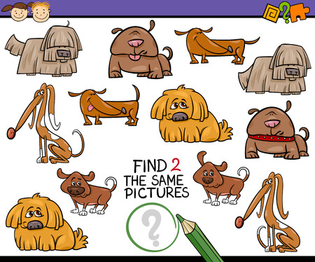 Cartoon Illustration of Finding the Same Picture Educational Game for Preschool Children with Dogs