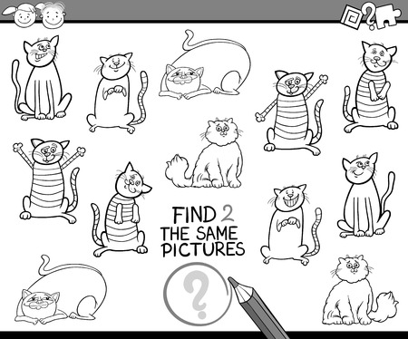 preliminary: Black and White Cartoon Illustration of Finding the Same Pictures Educational Game for Preschool Children with Cats for Coloring Illustration