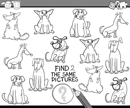 black dog: Black and White Cartoon Illustration of Finding the Same Pictures Educational Game for Preschool Children with Dogs for Coloring