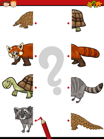 match: Cartoon Illustration of Education Match Halves Game for Children with Animal Characters Illustration