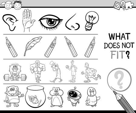 cerebro blanco y negro: Animados Blanco y Negro Ilustración de Encontrando artículo incorrecto en el Juego de la Educación Fila para niños en edad preescolar con personajes y objetos