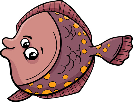 flounder: Cartoon Illustration of Funny Flounder Fish Sea Life Animal