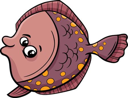 Cartoon Illustration of Funny Flounder Fish Sea Life Animal