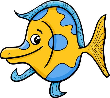 exotic fish: Cartoon Illustration of Funny Exotic Fish Sea Life Animal