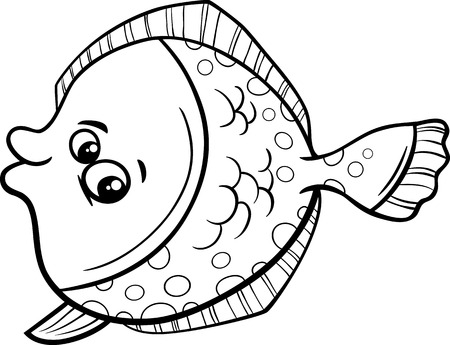 Black And White Cartoon Illustration Of Funny Flounder Fish Sea Life Animal For Coloring Book Stock
