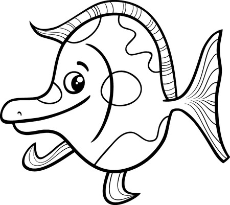 fish animal: Black and White Cartoon Illustration of Funny Exotic Fish Sea Life Animal for Coloring Book Illustration