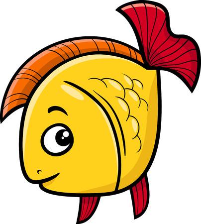 golden fish: Cartoon Illustration of Golden Fish Sea Life Animal