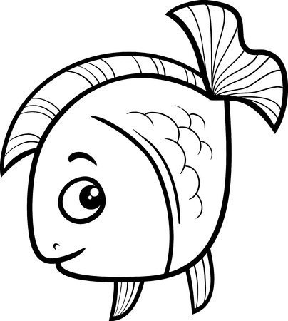 Black and White Cartoon Illustration of Golden Fish Sea Life Animal for Coloring Book