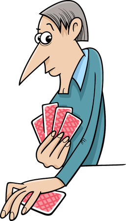 card game: Cartoon illustration of Man Playing Cards