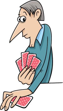 jeu de carte: Illustration de bande dessinée de Man Playing Cards