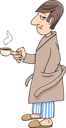 bathrobe: Cartoon illustration of Man in Bathrobe with Cup of Coffee